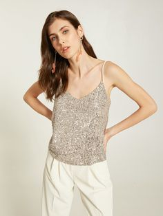 Top in paillettes - Motivi.com Trench, Camisole Top, Tank Tops, Outfit, Lace, Shopping, Fashion, Glitter, Scarf Head