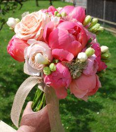Beautiful peony bridal bouquet by Milton Keynes and Northampton wedding florist www.fieldgateflowers.co.uk