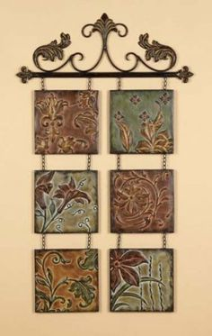 Amazon.com: Tuscan Metal Embossed Multi Colored hand Crafted Hanging Wall Tiles Set of 6 on Metal Rod: Furniture & Decor