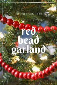 Bring some old-fashioned, festive ornamentation to your Christmas trees, mantels, wreaths, and more with this Scarlet Red Bead Garland! Country Christmas, Winter Christmas, All Things Christmas, Vintage Christmas, Christmas Holidays, Christmas Garlands, Christmas Decorations, Xmas, Outdoor Christmas