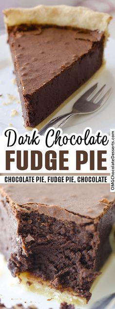 Homemade Chocolate Pie, Chocolate Pie Recipes, Chocolate Pies, Decadent Chocolate, Homemade Snickers, Easy Chocolate Desserts, Easy Chocolate Fudge Cake, Thanksgiving Chocolate Desserts, Chocolate Pie Filling