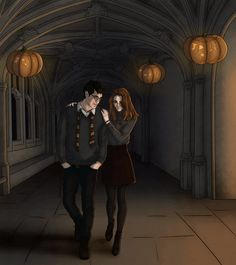 "runningquill-art Tricky Tricking ""For the last time, Potter, this is not a date! I'm literally walking you to detention right now! Harry Potter Hermione Granger, Harry And Hermione, Harry Potter Marauders, Harry Potter Quotes, Harry Potter Fan Art, Harry Potter Universal, Harry Potter World, Marauders Era, Lily Potter"