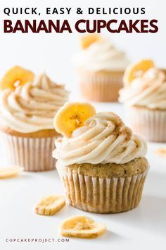 Love some easy banana desserts? Try this Banana Cupcakes. These banana cupcakes are quick, easy and delicious. Better yet, these banana cupcakes are based on one of my favorite recipes from Grandma's recipe book! Make this easy cupcake recipe! Food Cakes, Köstliche Desserts, Dessert Recipes, Easy Banana Desserts, Banana Recipes Easy, Mini Cakes, Cupcake Cakes, Cupcakes Cool, Delicious Cupcakes