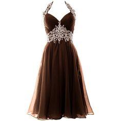 075d46f9a96 MACloth Women Halter Lace Chiffon Short Prom Dress Formal Evening Ball...  ( 109