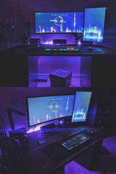 Best Gaming Setup, Gaming Room Setup, Gaming Rooms, Small Game Rooms, Simple Computer Desk, Computer Desk Setup, Bedroom Setup, Night Vibes, Game Room Design