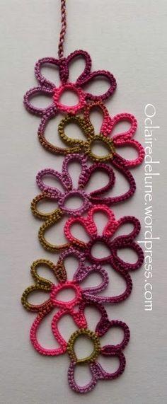 Marque-page floral modifié / Modified floral bookmark – O claire de lune Marque-pages Au Crochet, Freeform Crochet, Tapestry Crochet, Irish Crochet, Crochet Stitches, Needle Tatting, Tatting Lace, Tatting Patterns, Crochet Patterns