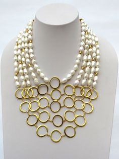CL181 Pearl Necklace, Beaded Necklace, Jewels, Gold Plating, Bead Necklaces, Pearls, String Of Pearls, Beaded Collar, Jewerly