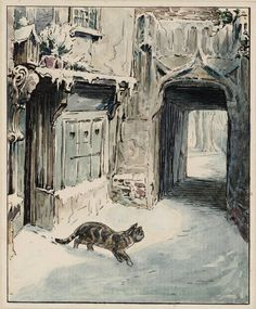 Helen Beatrix Potter (1866‑1943) - Simpkin Goes Out (From Illustrations for 'The Tailor of Gloucester'), c.1902 - Ink and watercolour on paper