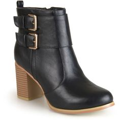 Journee Collection Port Womens Booties (€67) ❤ liked on Polyvore featuring shoes, boots, ankle booties, ankle boots, platform bootie, wide ankle boots, buckle booties, platform boots and platform booties
