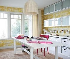 Yellow wallpaper, lots of storage...bliss