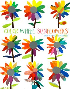 Color wheel art project: paper sunflowers Kinder art project More