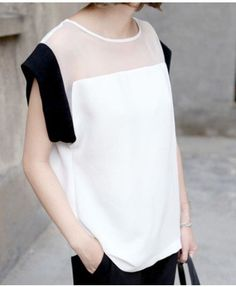 moulded semi-sheer color block shirt