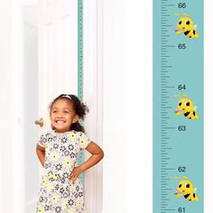 Patent Pending Mom Approved Flower Bee PeekaBoo Growth Charts Track & Measure your Kid's Height. Fits in Door Jamb, Removable & Reusable, Self-Adhesive [72 x 1.25 Inches]