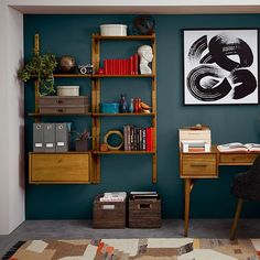 Mid-Century Wall Shelving + Cabinet Set - retail store design ideas - Shelves in Bedroom Home Office Design, Home Office Decor, Office Ideas, Mid Century Modern Living Room, Mid Century Modern Colors, Retro Home Decor, Living Room Decor, Living Rooms, West Elm