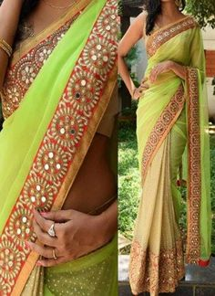 Lemon Green Cream Mirror Work Lace Border Georgette Lycra Silk Party Wear Sarees
