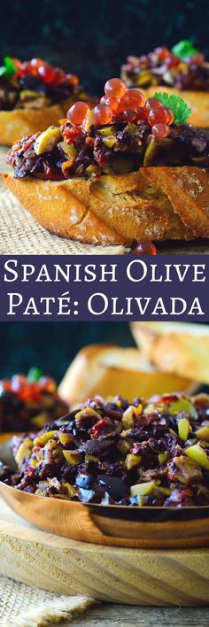 Olivada is an olive pate from Spain which is similar to the better-known French tapenade. It can be made with black or green olives, smooth or chunky, and with the addition of a variety of other Mediterranean ingredients. It's very quick and easy to prepare and makes a great party hors d'oeuvre or snack when served on toasted bread with vinegar caviar balls.