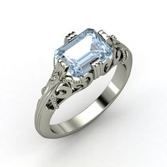 Emerald-Cut Aquamarine, Solitaire, Prong Set Ring