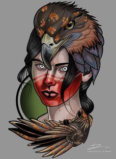 Spirit Woman - #painting #digitalart #tattoodesign #art #neotraditional #tattoo #wacom #photoshop  Instagram @delapradart Head Tattoos, Body Art Tattoos, Sailor Jerry Tattoo Flash, Neo Tattoo, Traditional Tattoo Design, Art Therapy Projects, Desenho Tattoo, Art For Art Sake, Fantasy Girl