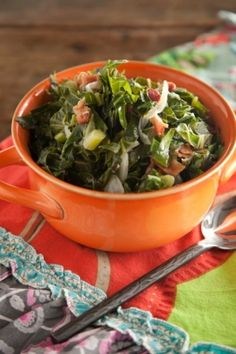 Paula Deen's Stewed Collard Greens. I like to cook mine with chicken stock and for 2+ hours.