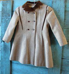 72d03f5f1 Vintage 1960s Childrens Coat 60s Rothschild wool velvet made in the USA girls  6 x beige brown