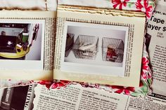 Handkerchief Photo-A-Day Journal with Old Book Pages via A Beautiful Mess