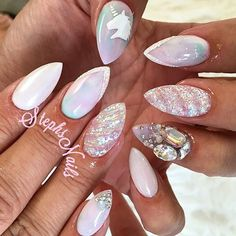 """Another set of #unicornnails inspired by my set on @_dose_of_beauty check out her makeup page! ❤️ @glamandglitsnails acrylics! """"Endless sea"""" blue """"1st impressions"""" pink and """"Boardwalk"""" purple mixed with white to make it a lot lighter! @missu_beauty_nails jewelry gel for the stones & a drill bit for the unicorn horn nail!"""