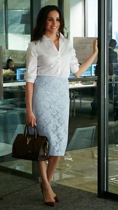 a0b4bf042f How to Wear A White Shirt - The Power Dresser. Rachel Zane does it right
