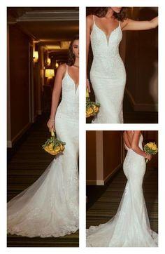 White Lace Wedding Dress, Western Wedding Dresses, V Neck Wedding Dress, Top Wedding Dresses, Wedding Dress Trends, Bridal Dresses, Wedding Gowns, Tulle Wedding, Western Weddings