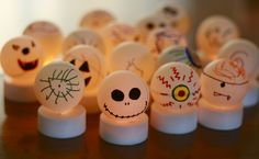 The kids were feeling under the weather today so I thought it would be a good time to do a Halloween Craft. I picked up a bunch of ping pong balls, battery powered tea light candles, and an assort… Cute Halloween, Holidays Halloween, Halloween Crafts, Holiday Crafts, Halloween Ideas, Thanksgiving Holiday, Halloween Favors, Holiday Ideas, Electric Tea Lights