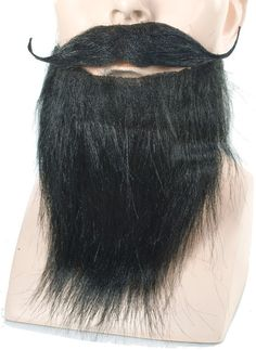 costume accessory: goatee and mustache full | black Case of 3