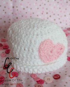 Cream Of The Crop Crochet ~ Preemie/Newborn Heart Hats {Free Crochet Pattern}