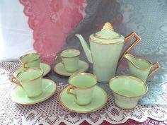 Royal Albert Crown China Tea Set Art Deco 1927 1935 Pale Green w Gold Gilt | eBay