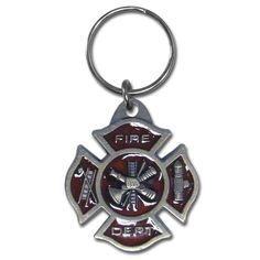 Fire Dept. Maltese Cross Pewter Keychain