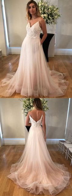 V-Neck Lace Long Prom Dresses Spaghetti Straps Evening Dresses Tulle A-Line Formal Dresses,HS776 #fashion#promdress#eveningdress#promgowns#cocktaildress