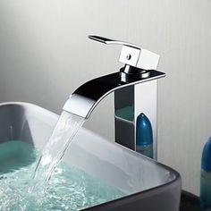 Contemporary Brass Waterfall Bathroom Sink Faucet (Tall) - FaucetSuperDeal.com