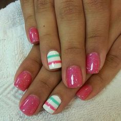 Pink, white & mint nails