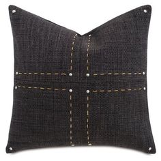 Eastern Accents Barclay Butera Hand-Stitch Cross Down Throw Pillow Color: Charcoal Velvet Pillows, Linen Pillows, Decorative Pillows, Bed Linens, Cushions, Decorative Objects, Decorative Accessories, Newport, Throw Pillow Sets