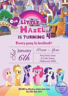 My Little Pony Invitation, My Little Pony Birthday, Pony party, Fluttershy, Rarity, Pinkie Pie, Rainbow Dash, Free Thank you Tag or Card