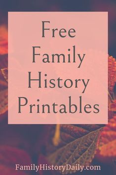 Free genealogy printables can be a big help to any family historian. Look here for our big list of w Free Genealogy Sites, Genealogy Forms, Genealogy Chart, Genealogy Research, Family Genealogy, Ancestry Free, Family Tree Research, Family Tree Chart, Family Trees