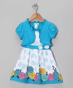 Take a look at this Turquoise Flower Outline Dress & Shrug - Infant, Toddler & Girls by Littoe Potatoes on @zulily today!