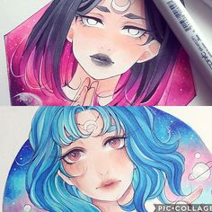 """""""Parts of the day"""" 4/4 which one do you prefer? . . . #animedrawing #anime #manga #copic #mangaart #animeart"""