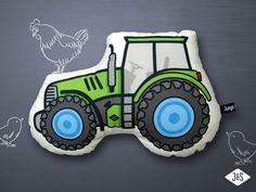 Kissen - Kissen Traktor grün Geschenk Schlaf Kuscheln Kind - ein Designerstück von Jungs-und-Soehne bei DaWanda