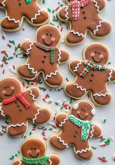 Christmas Gingerbread Men Sugar Cookies holiday baking recipe.