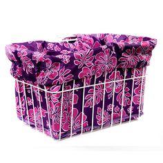 Pink Purple Hibiscus Basket Liner