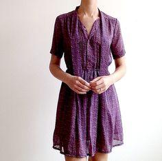 Vintage Dress Paisley Purple Blue Bow. 70s Japanese Day Dress.