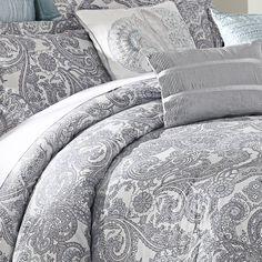 Luxe Lavender 9-piece Comforter Set  gray paisley white duvet cover