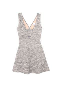 Cloudy With a Chance Dress from Olive + Oak. Heather grey fit-and-flare dress with deep V back. Sleeveless, fitted bodice Fit-and-flare silhouette Textured knit. $76