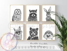 Set of 6 Woodland Forest friends portrait baby animals Nursery prints kids room Fox Bear Rabbit - A3