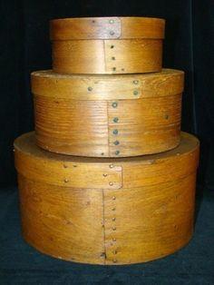 3 Antique Bentwood Nesting Shaker Pantry Boxes Folk Art Primitive Copper Nails   eBay