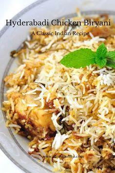 Hyderabadi chicken biryani ( Chicken dum biryani) is a classic Indian chicken recipe. Chicken marinated with the spices, yogurt and cooked with white rice. Indian Chicken Recipes, Indian Food Recipes, Asian Recipes, Indian Foods, Chicken Dum Biryani Recipe, Recipe Chicken, Rice Recipes, Cooking Recipes, Gourmet